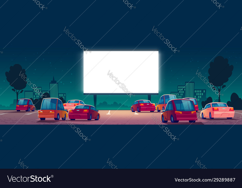 Outdoor Cinema Drive In Movie Theater With Cars Vector Image