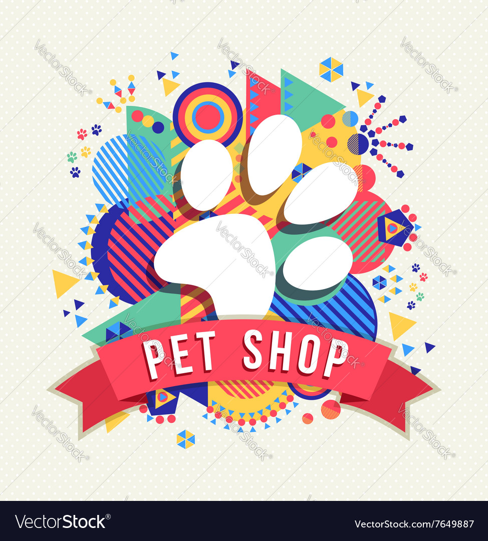 Pet shop icon animal paw with color shapes