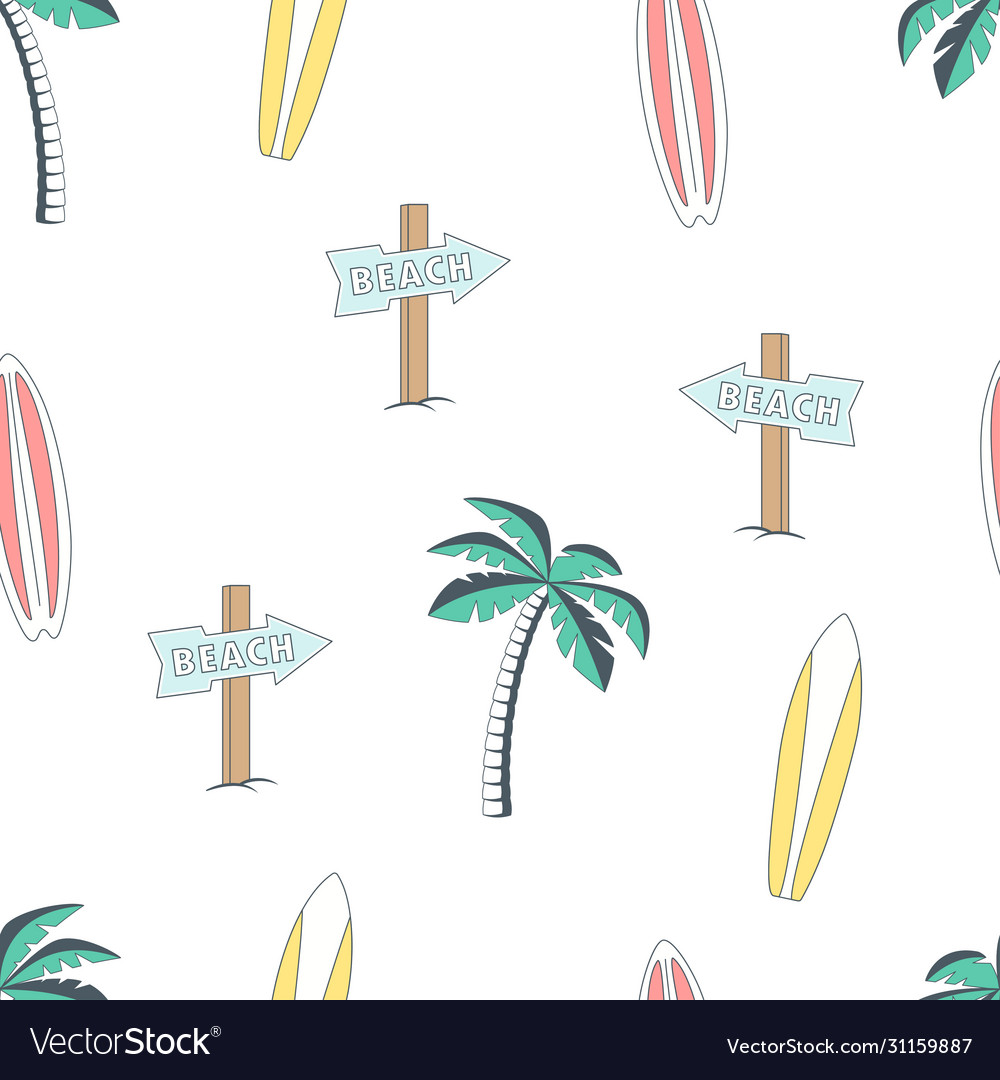 Seamless pattern with surfboards and palm tree