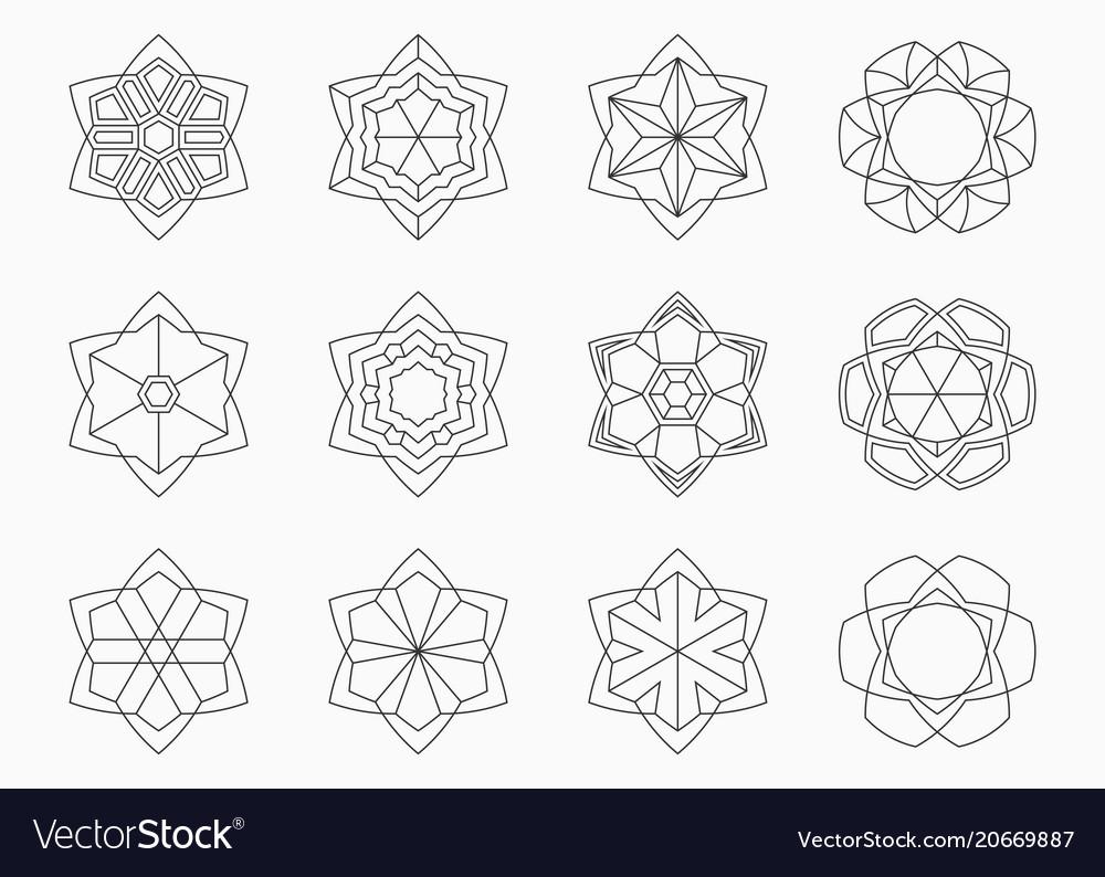 Set of abstract symmetric geometric shapes