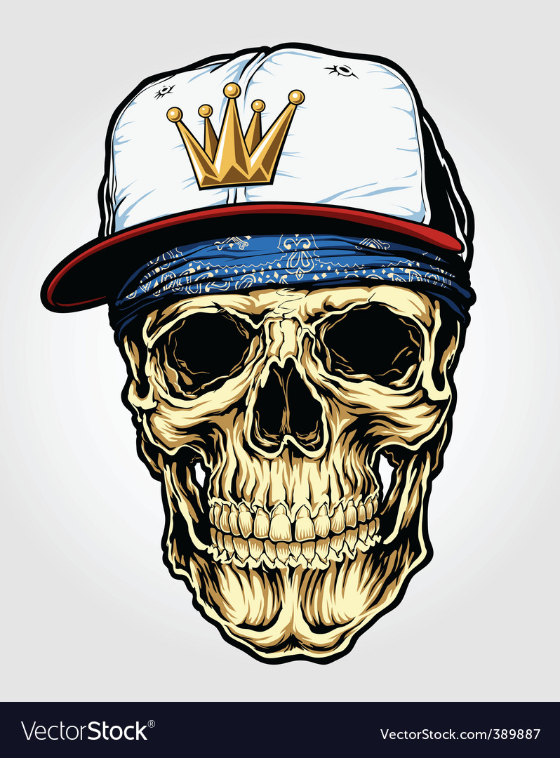Skull with bandana and cap