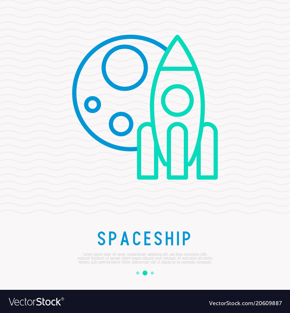 Spaceship and moon thin line icon