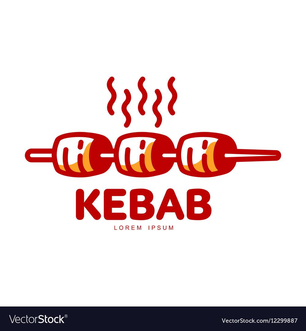 Stylized hot freshly grilled Turkish kebab logo