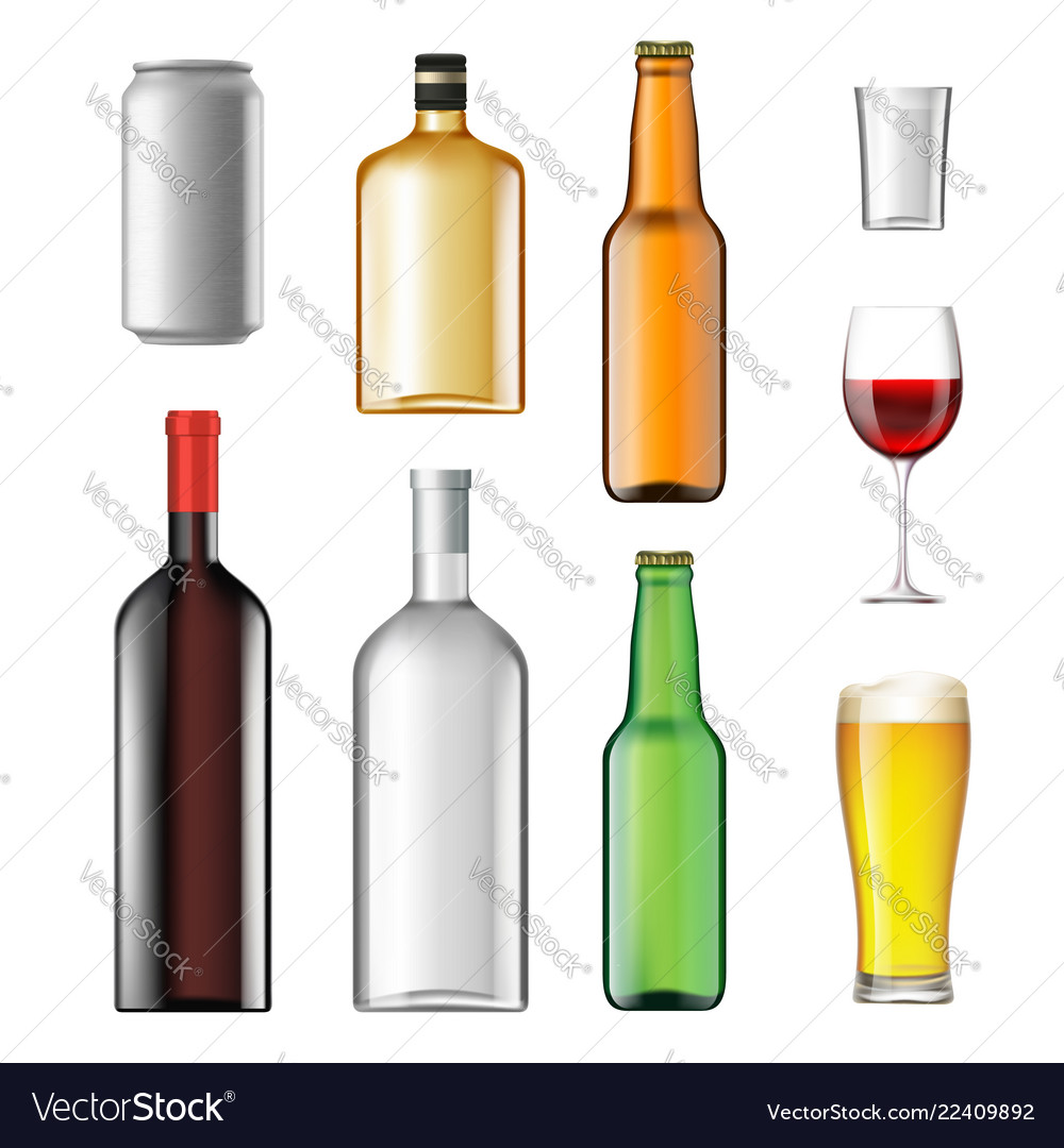 Bottles with alcoholic drinks isolated on white