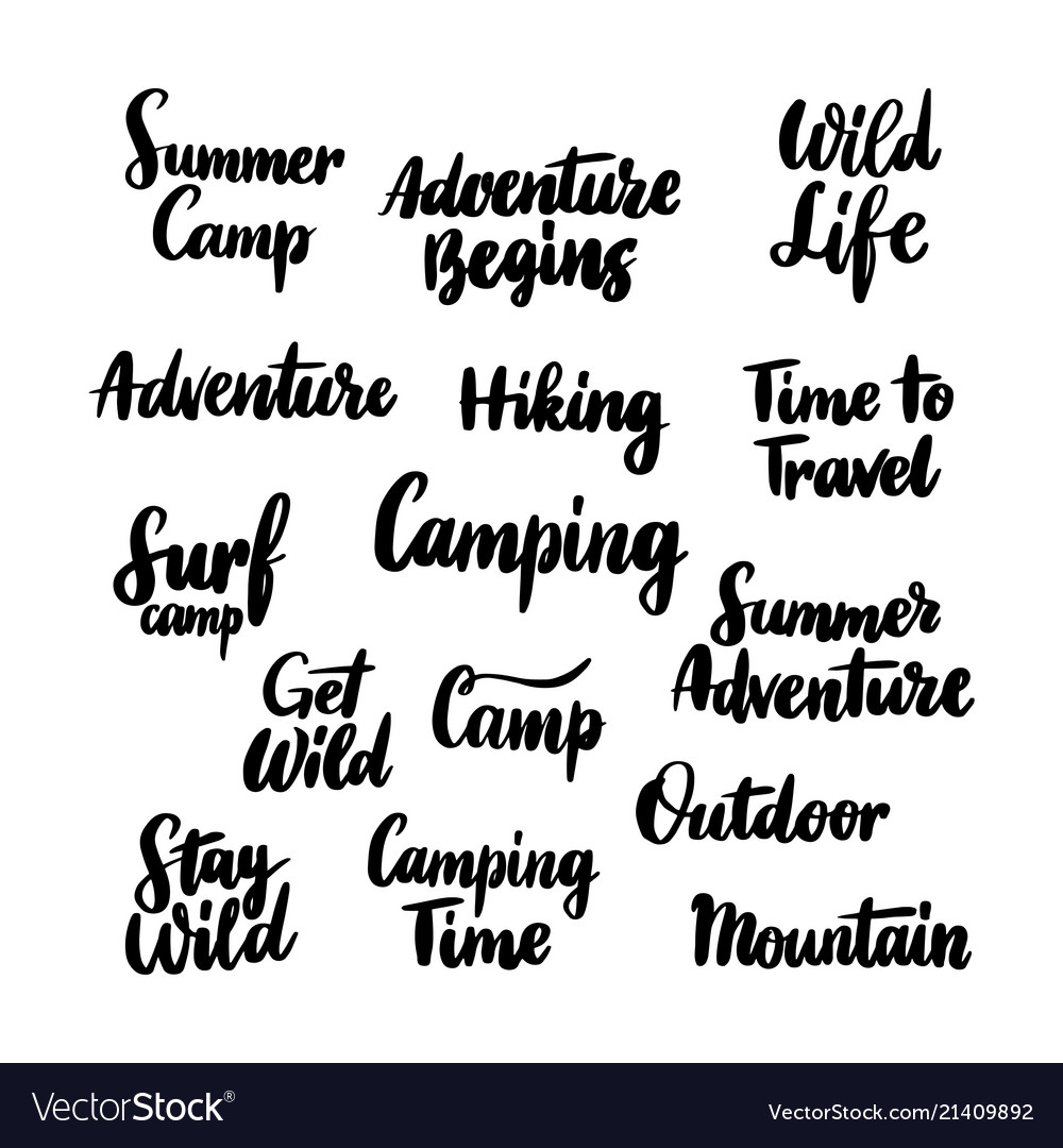 Camping hand drawn lettering