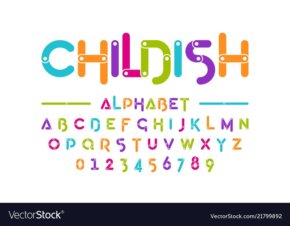 Childish colorful font construction set alphabet