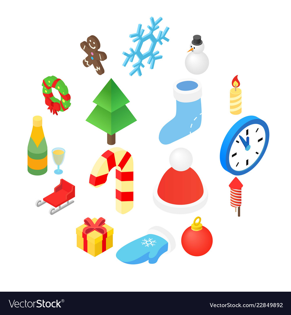 Christmas isometric 3d color icons set