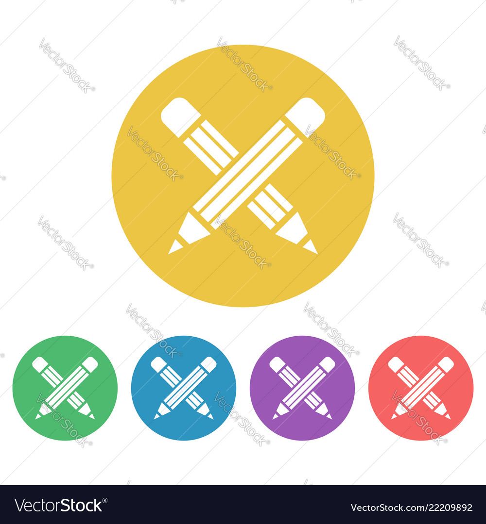 Crossed pencils set colored round icons