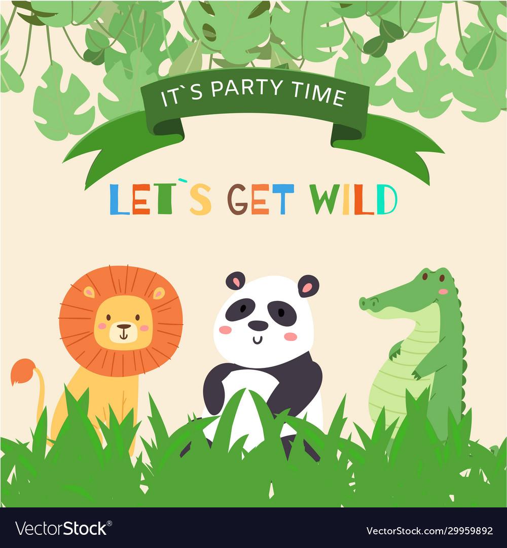 Cute animals lion panda and crocodile for kids