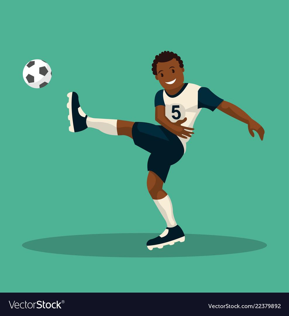 Dark-skinned soccer player scores a goal