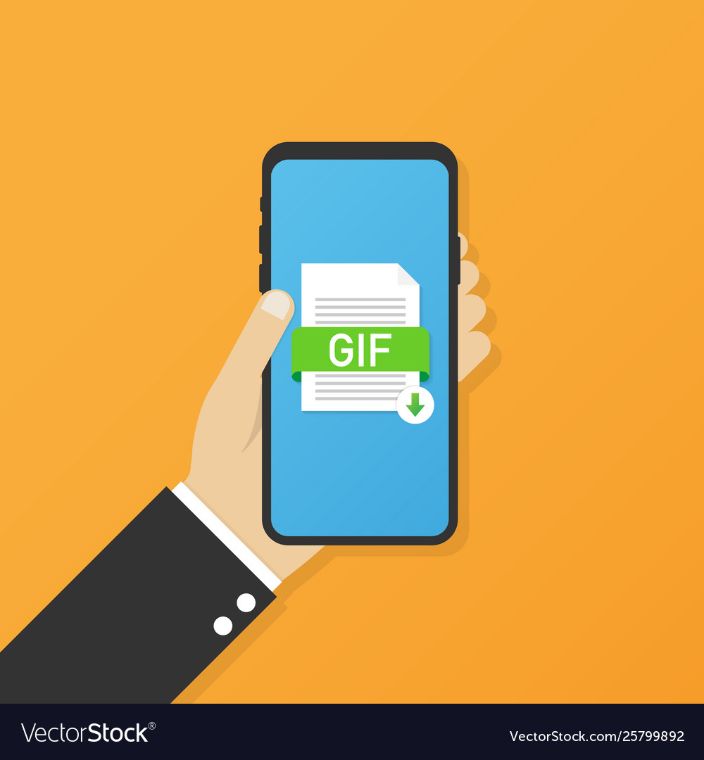 Download gif button on smartphone screen