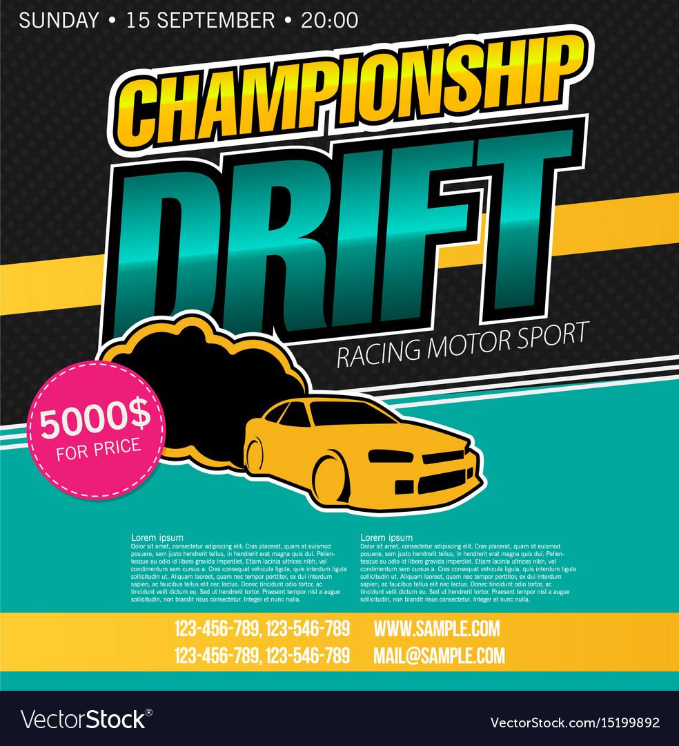 Drift banner for web or print flat vector image