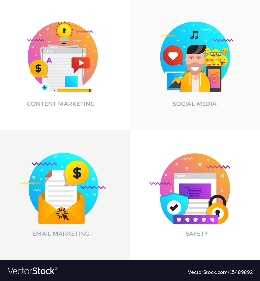 Flat designed concepts - content marketing social