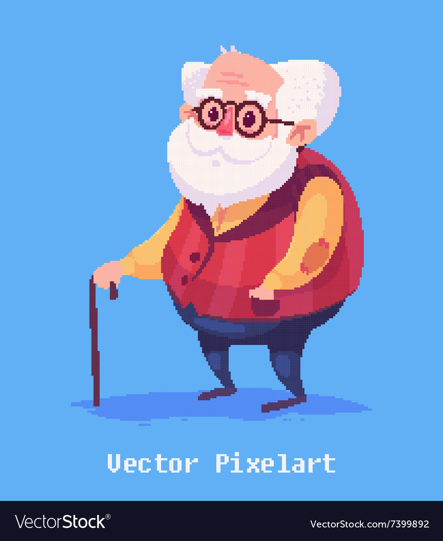 Funny old man character Isolated