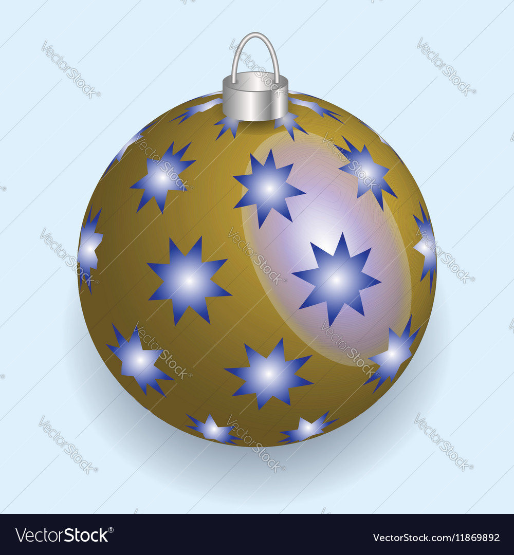 Golden with blue stars Christmas ball reflecting