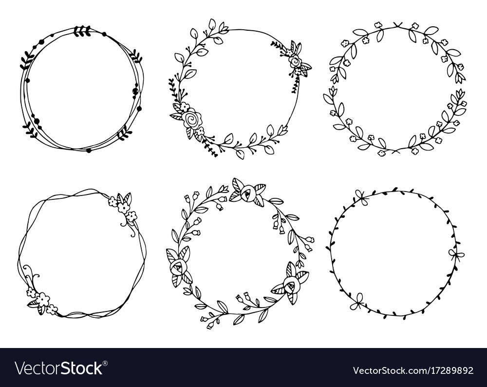 Hand drawn wreaths design elements vector image