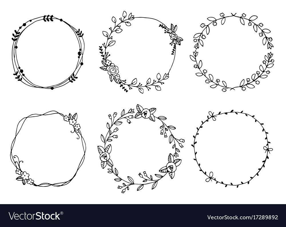Hand drawn wreaths design elements