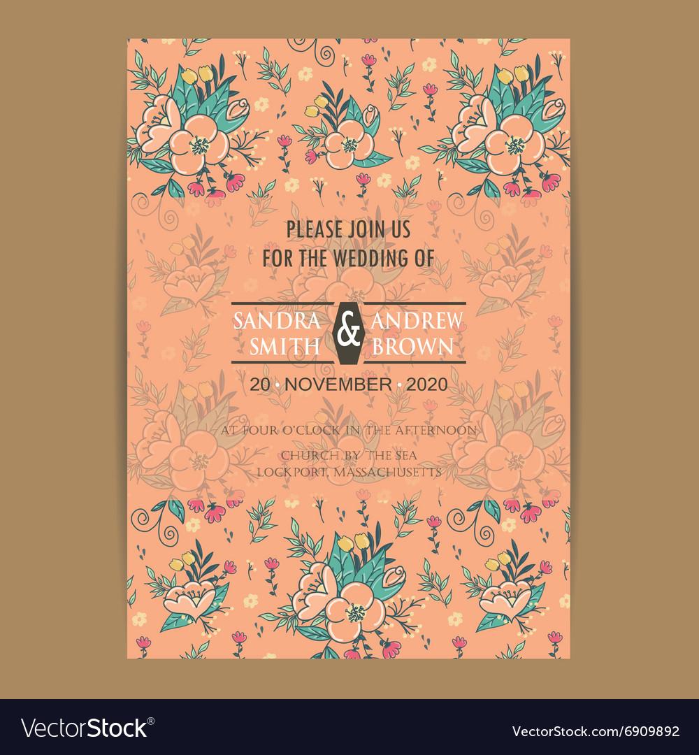 Invitation card orange vector image