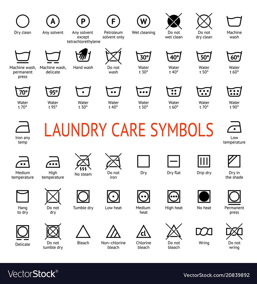 Laundry Care Symbols Cleaning Icons Set Washing Vector Image