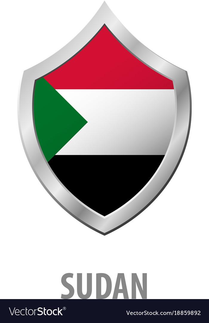 Sudan flag on metal shiny shield vector image