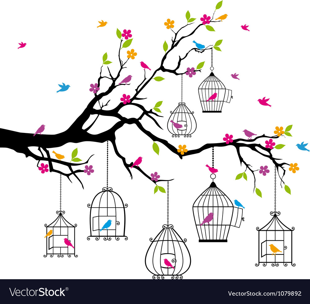 Tree with birds and birdcages