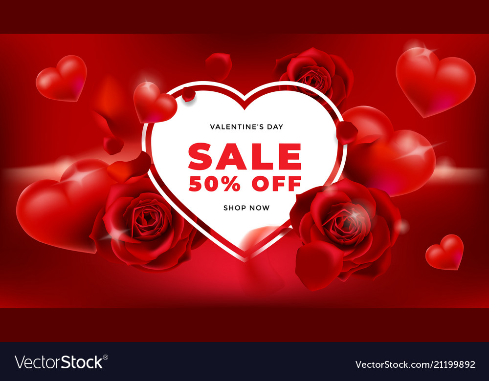 Valentines day sale background with flower rose