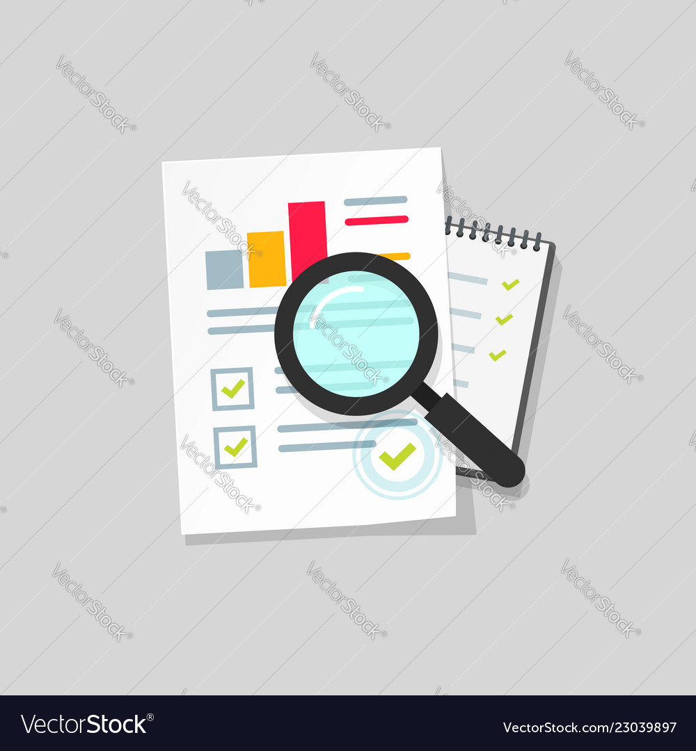 Audit research icon flat cartoon paper