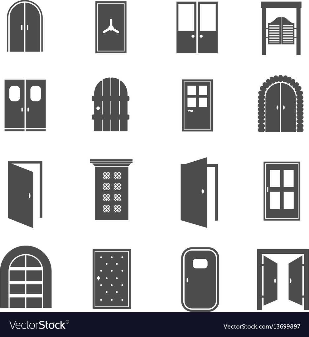 Black door icons open and close house and