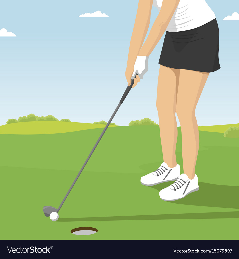 Close up of lady golfer putting