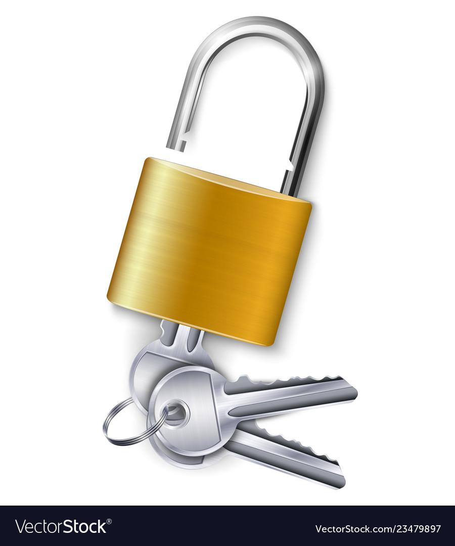 Gold padlock with three keys