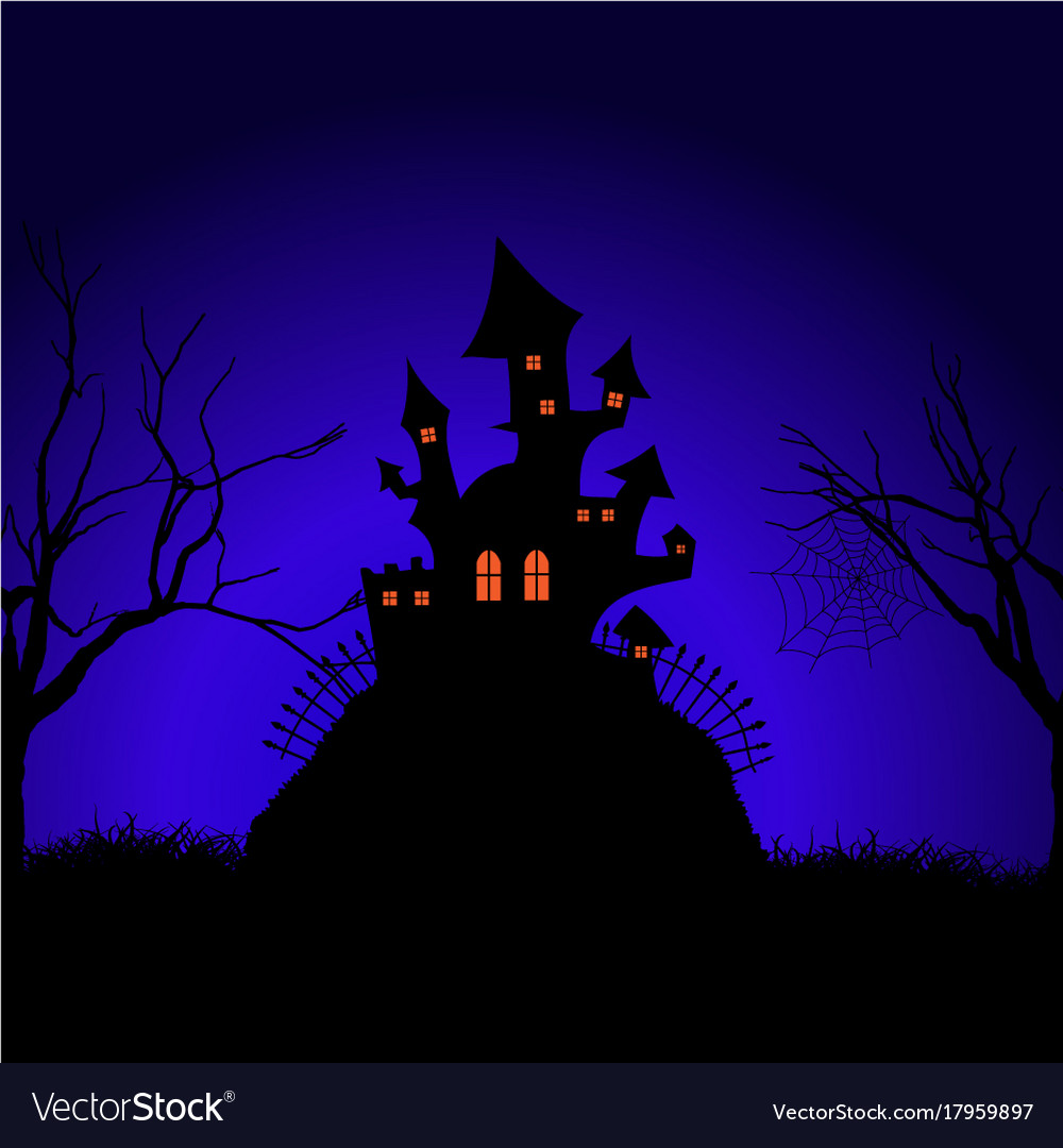 Halloween spooky castle background Royalty Free Vector Image