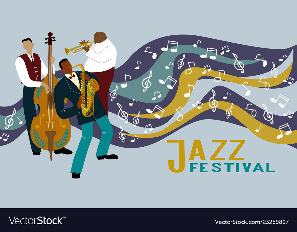 Jazz band on a decorative background with notes