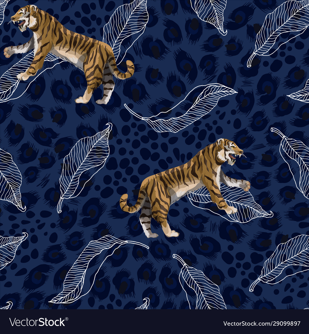 Seamless pattern with tigers and leaves