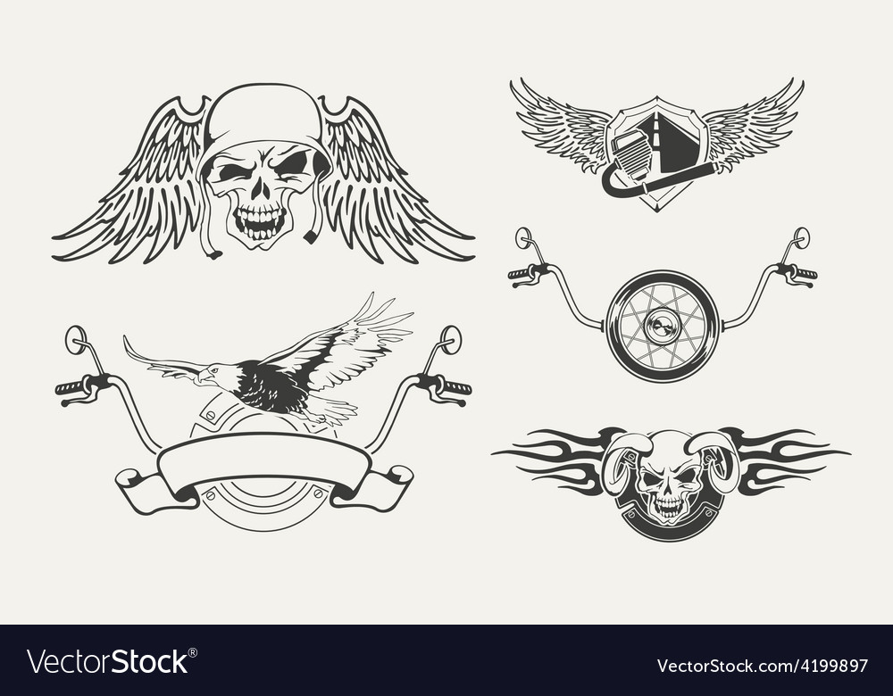 Set of motorcycle emblems badges labels and