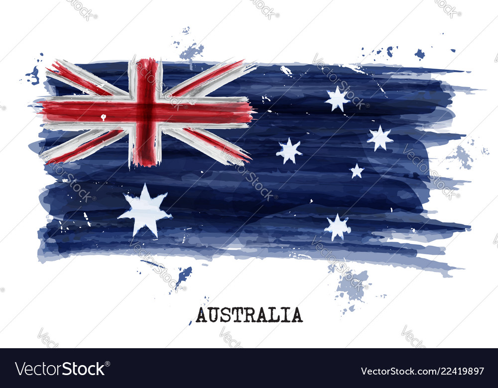 Watercolor painting flag of australia