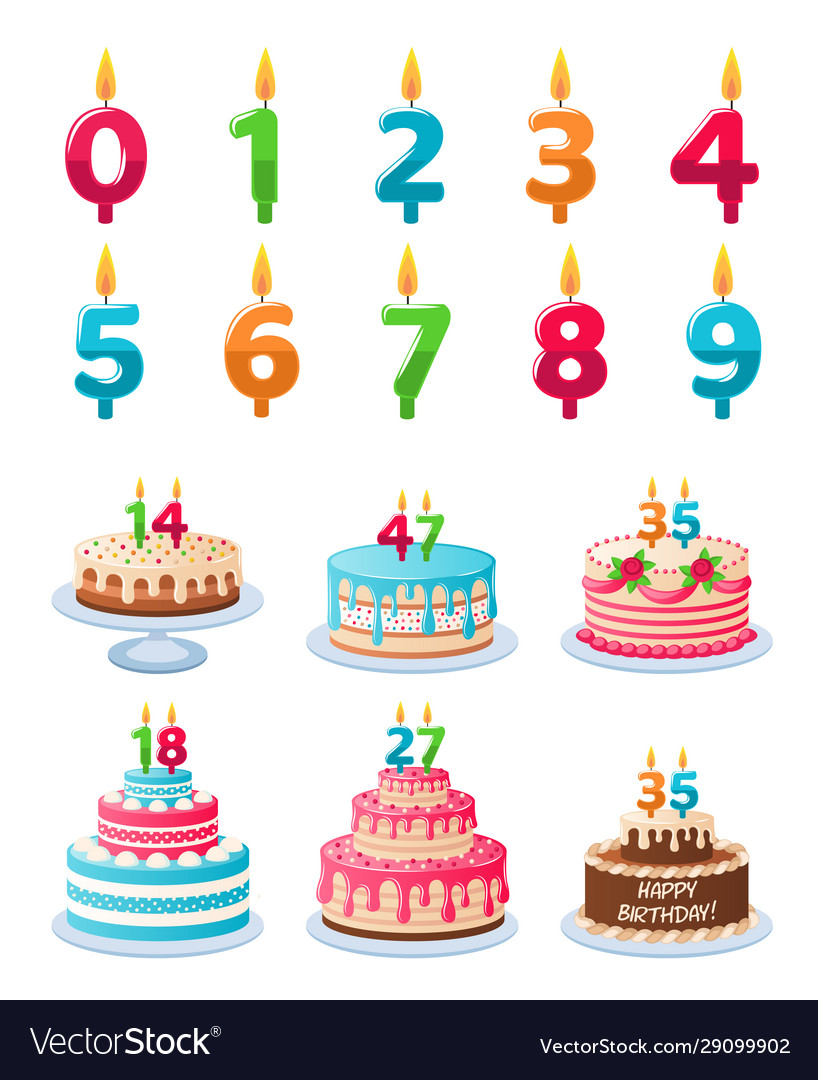 Cakes with candle numbers anniversary birthday