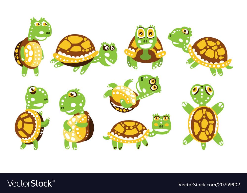 Cartoon funny turtle set for label design
