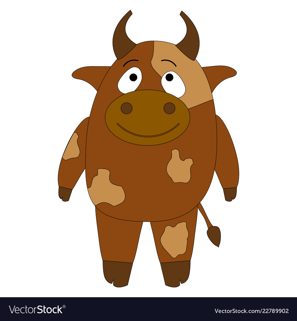 Cheerful brown cow on a white background cute