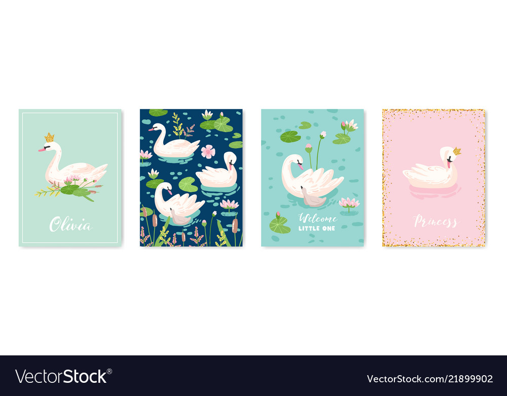 Collection of beautiful swans posters for design