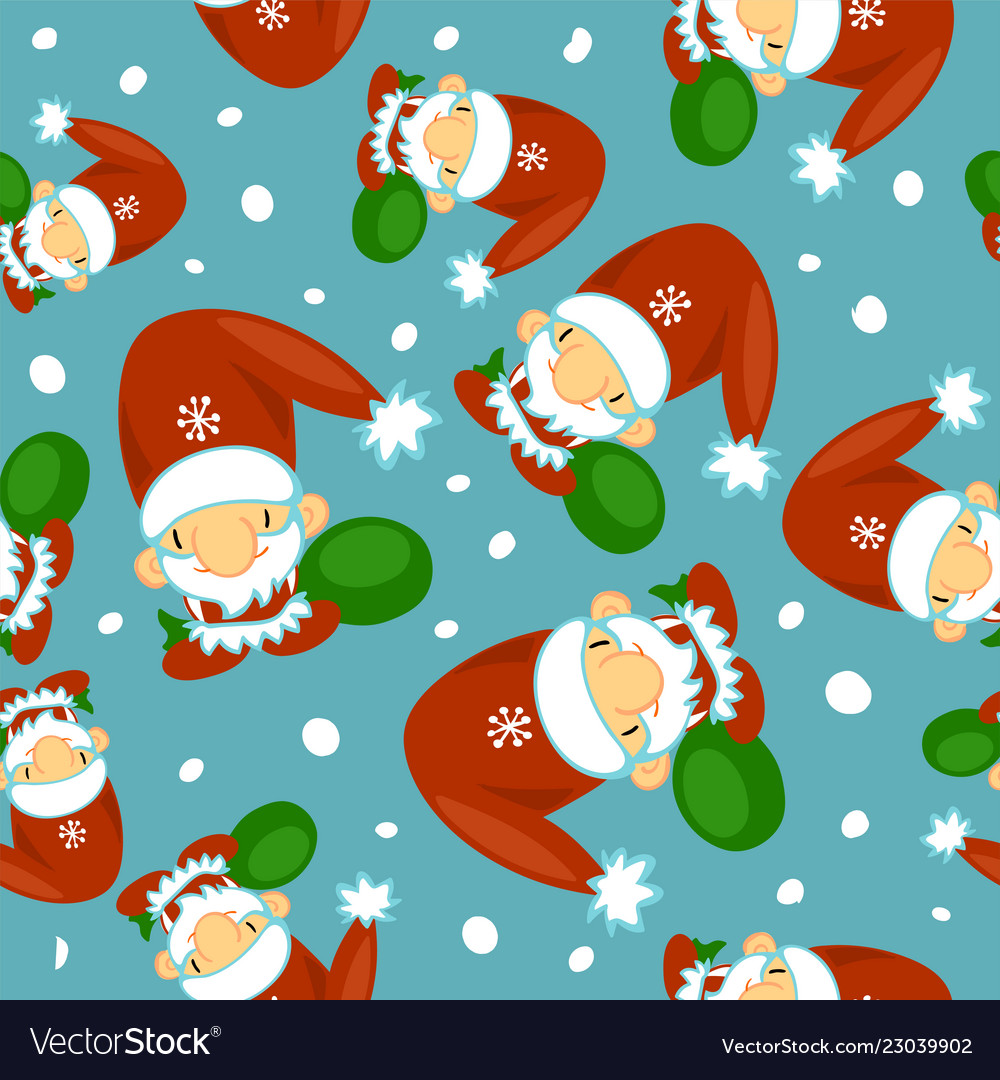 Cute santa clauses seamless pattern can be