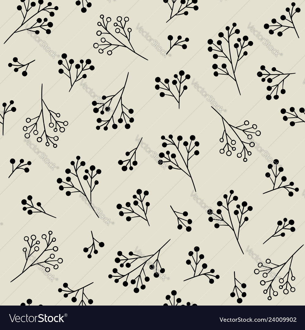 Floral monochrome seamless pattern with berries