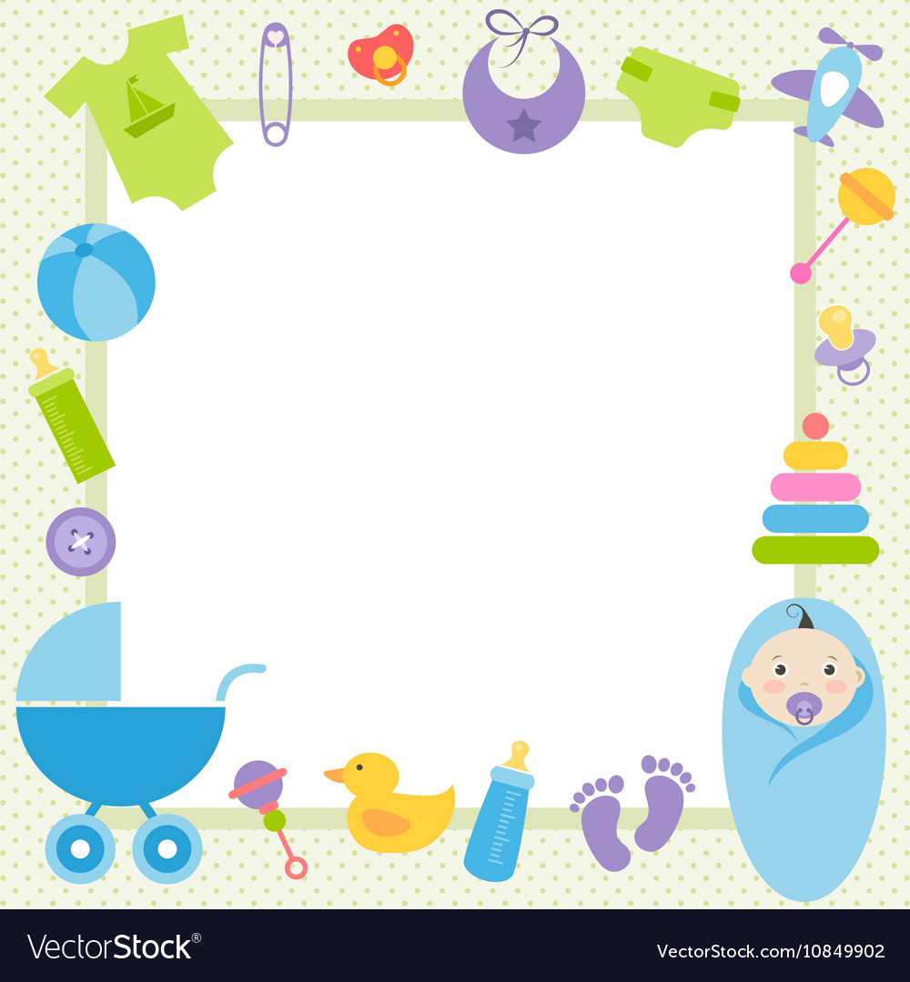Green frame with baby boy elements Royalty Free Vector Image