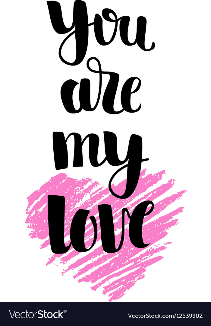 Hand drawn pink heart with lettering