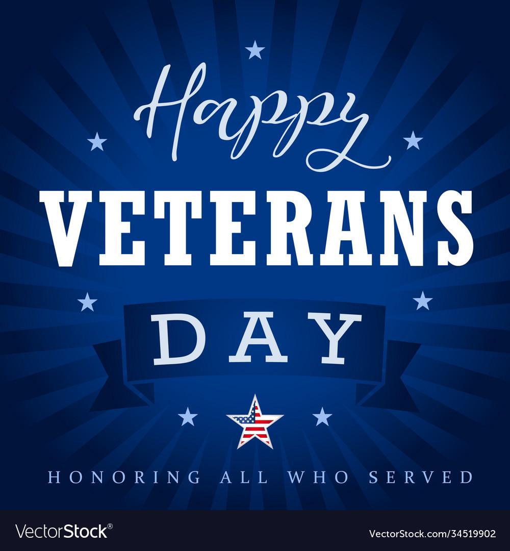 Happy veterans day usa star ribbon stripes