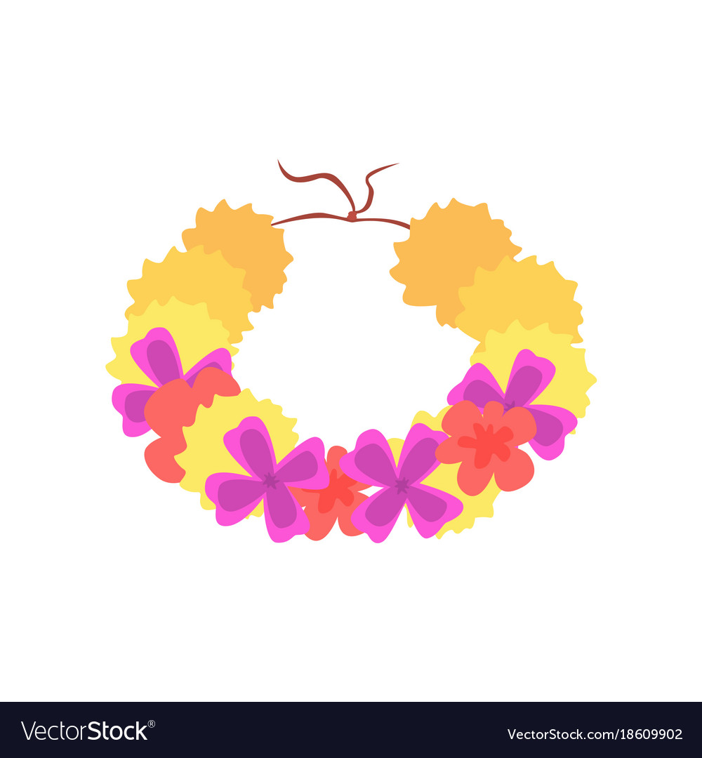 Hawaiian lei with bright colorful flowers