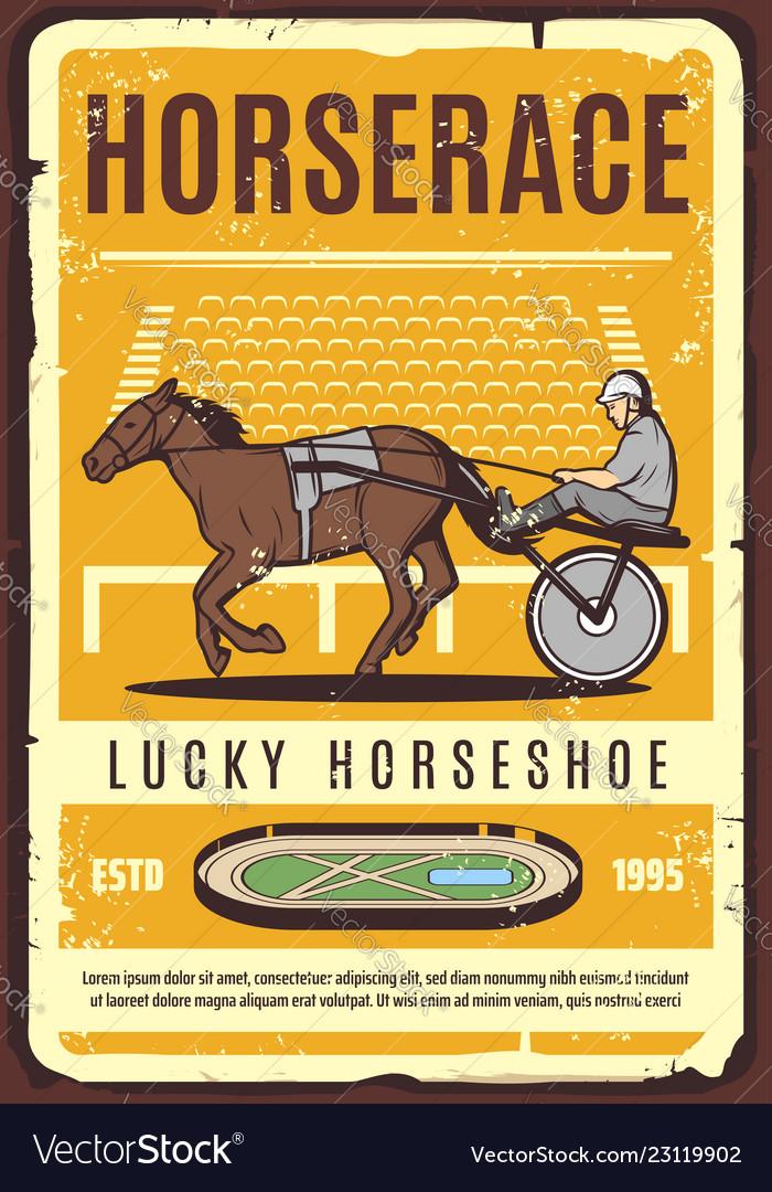 Horse cart jockey on hippodrom harness racing