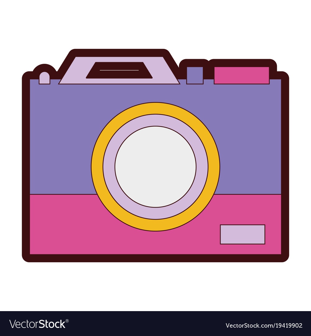 Line Color Digital Camera Technology Equipment Vector Image