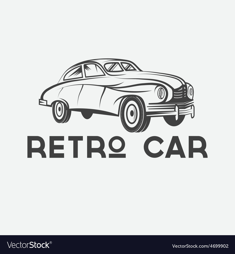 Retro car design template vector image