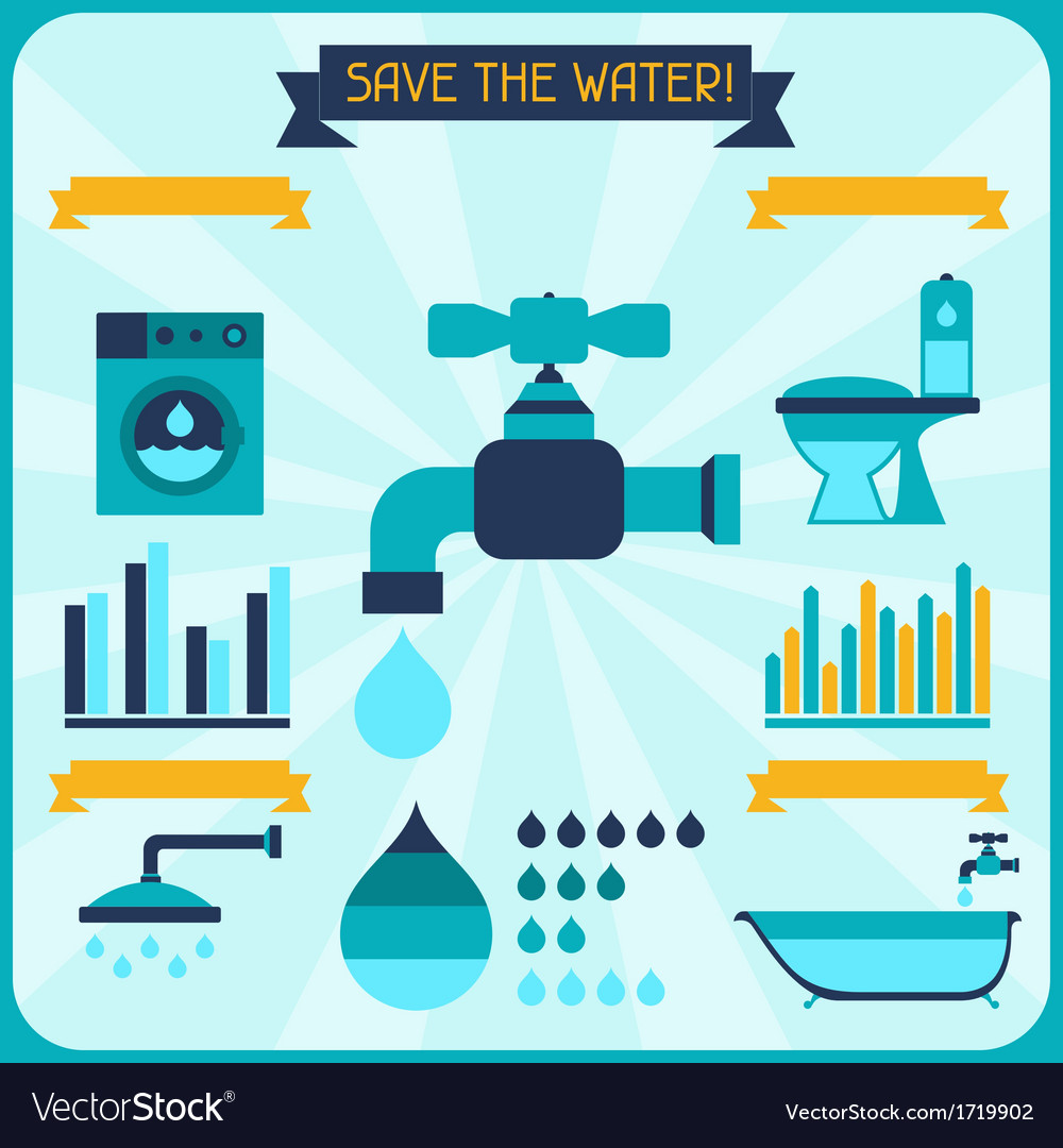 Save the water Poster with infographics in flat vector image