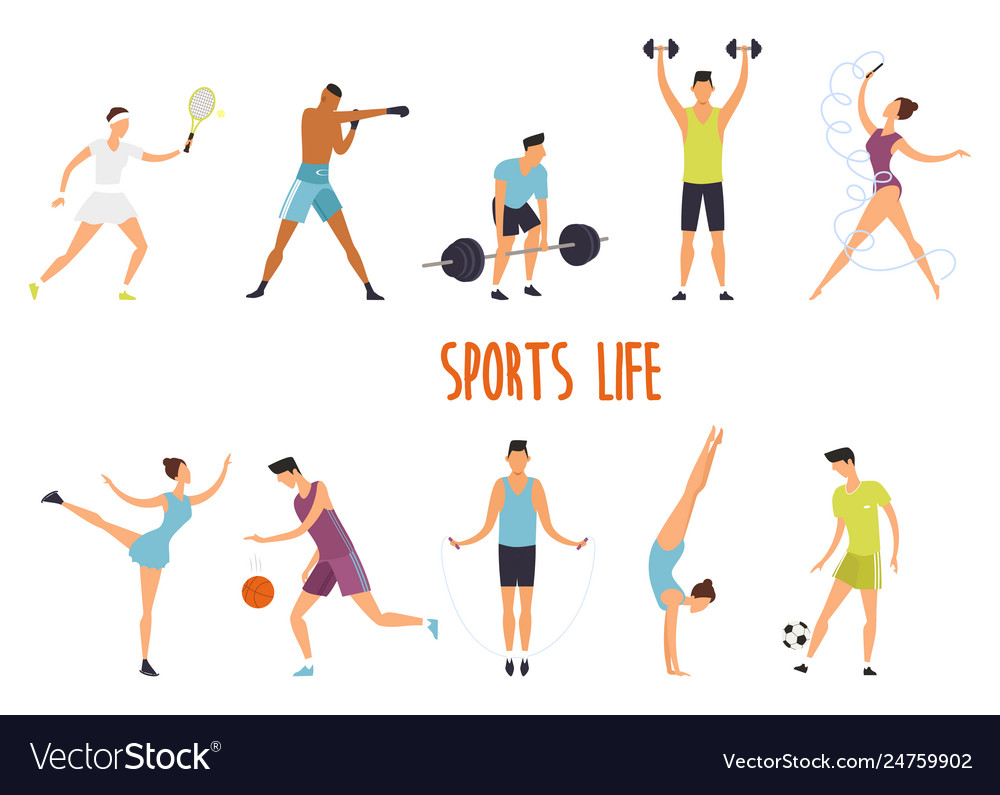 Set isolated woman and man at sport exercise